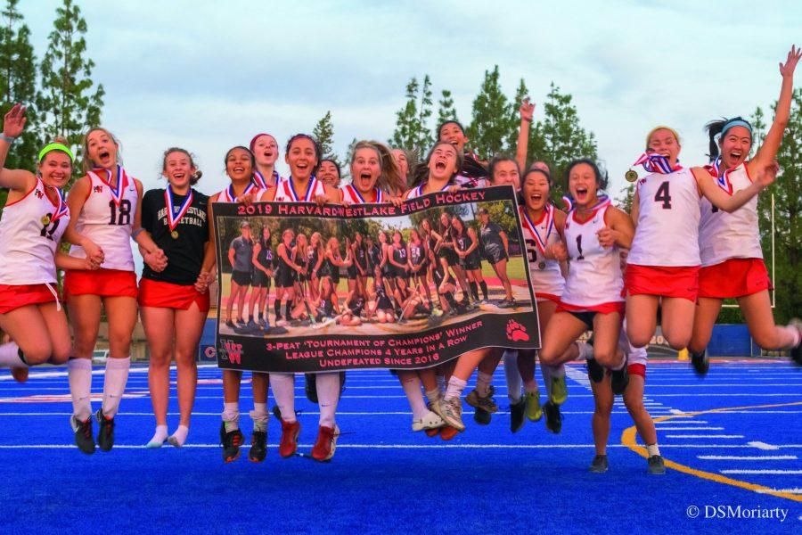 The team celebrates after winning their third consecutive Los Angeles Field Hockey Association Title in a row. Credit: David Moriarty