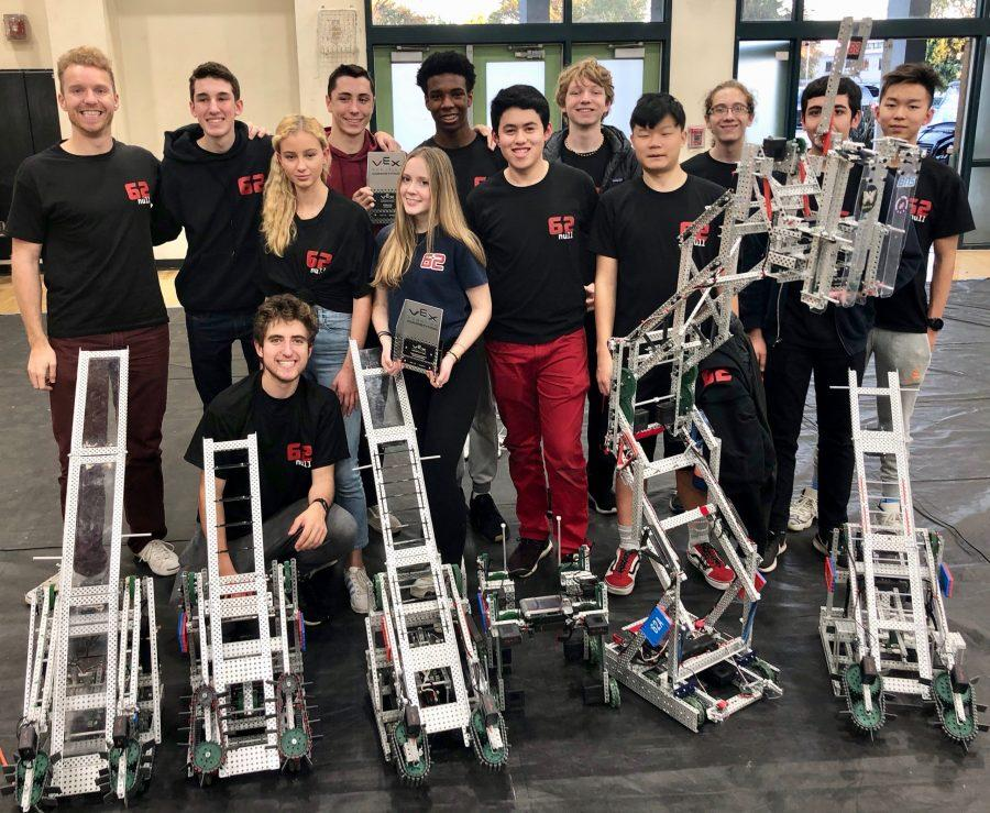 Robotics subteams 62A and 62X pose with their robots at the VEX tournament in Long Beach after winning the Create Award and the title of tournament champion, respectively. Credit: Kaitlyn Mumford