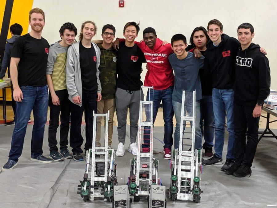 Robotics+subteam+62B+poses+for+a+picture+with+their+awards+and+winning+robots+at+Corona+High+School+on+Feb+9.+Credit%3A+Published+with+permission+of+Andrew+Theiss