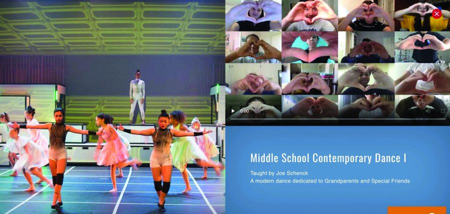 ON POINTE: One of the pre-recorded videos available to grandparents and special friends via website entails a performance by the middle school Contemporary Dance I class, taught by performing arts teacher Joe Schenck. The video lasts about one minute and details a dance routine created by the class.