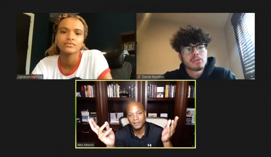 Daniel+Novikov+21+and+Cameron+Herring+21+facilitate+a+discussion+with+Wes+Moore+during+Community+Flex+Time.+%0ACredit%3A+Tanisha+Gunby%2FChronicle