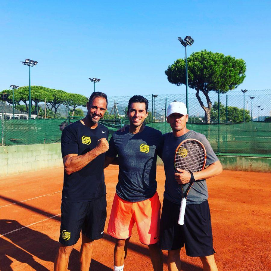 On- And off-Court Prowess: Tennis program head Bo Hardt trains on a red clay court with his coach and hitting partner during the summer.