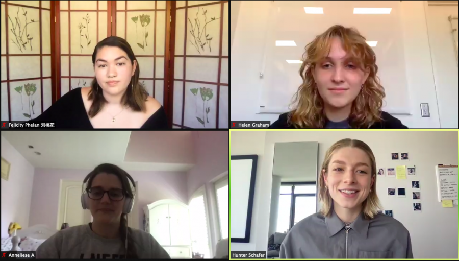 Model and actress Hunter Schafer talks with Gender and Sexuality Awareness (GSA) club leaders Felicity Phelan '21, Helen Graham '21 and Anneliese Ardizzone '21 about her personal experiences, professionally modeling and acting on HBO's award-winning TV show