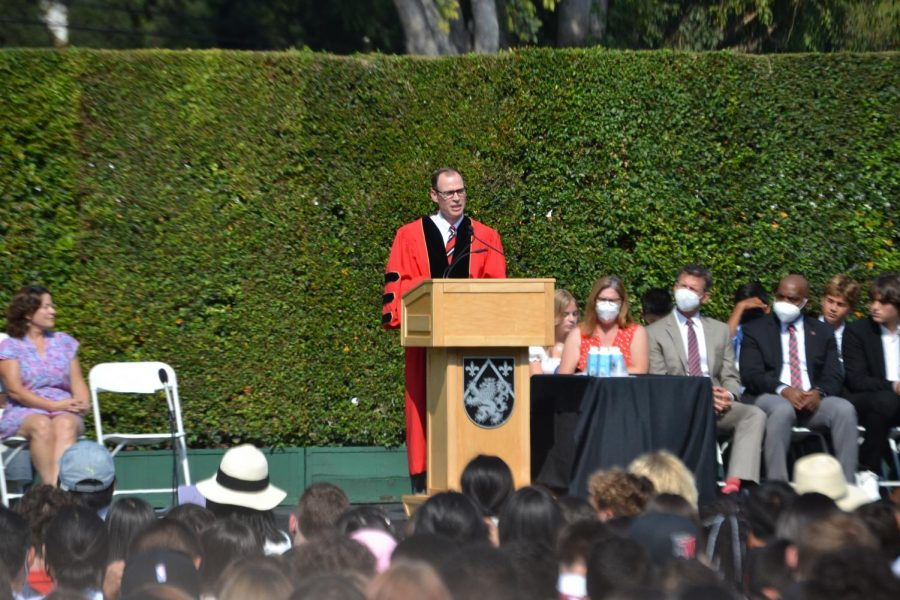 President Rick Commons addresses the school community during Convocation.