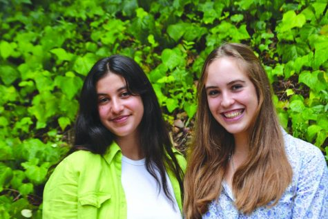 QUEENS OF WEILER HALL: Editors-in-Chief Tessa Augsberger '22 and Milla Ben-Ezra '22 pose at the first Chronicle layout of the year.