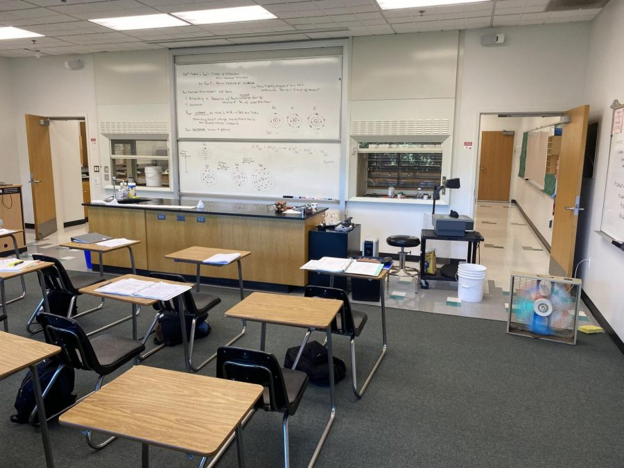A fan blows out the fumes inside the science classroom in the aftermath of the incident.