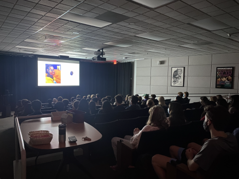 Students view films made by their classmates in Ahmanson Theater, which was one of the activities available during Community Time.
