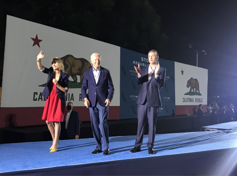 Governor Gavin Newsom appears at a campaign rally with President Joe Biden in Long Beach, California.