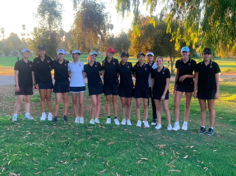 Before its match, the girls golf team prepares to face off against Notre Dame High School on the Encino Glen Golf Course