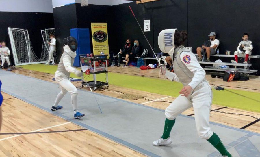 Konnie Duan 23 participates in a fencing tournament during mid-semester break in Torrance, CA.
