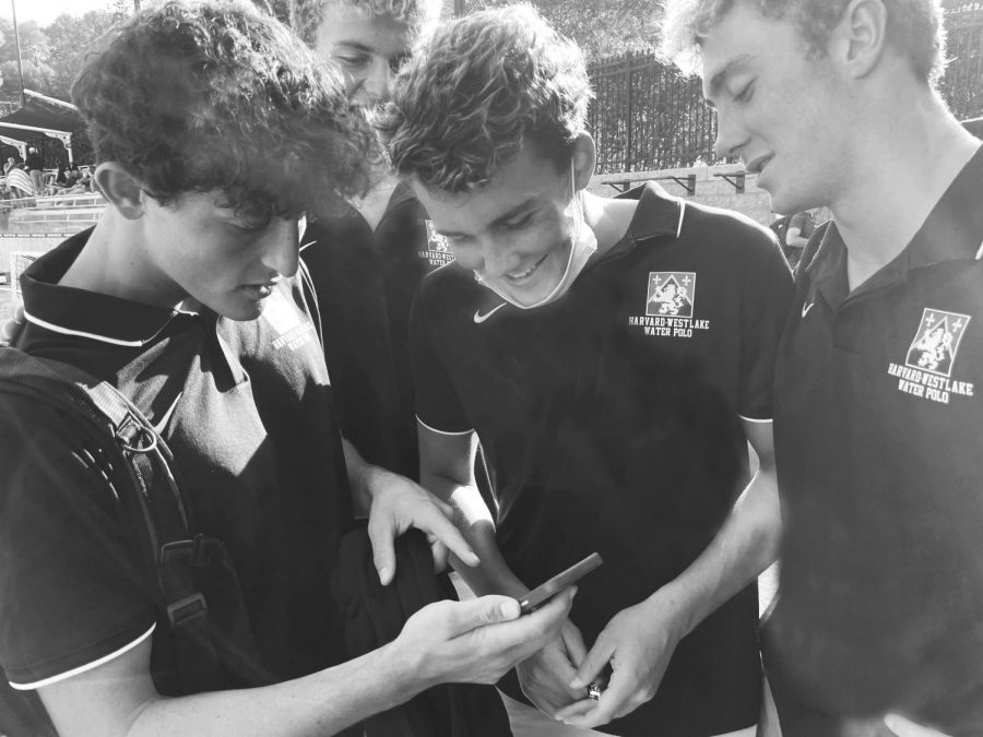 Matteo Dall'Olmo '22 points out data featured on his app to his fellow water polo teammates after their game.